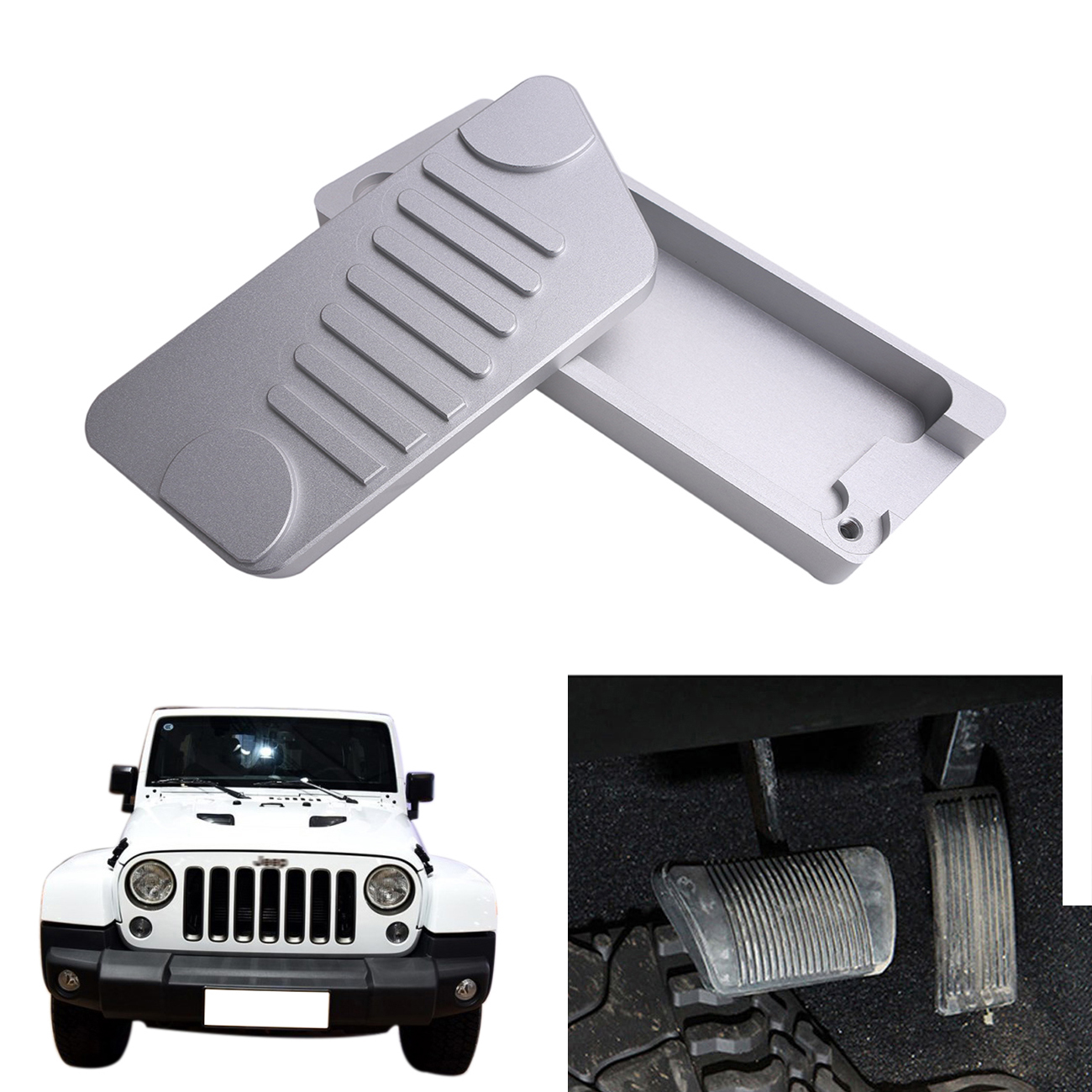 silver aluminum alloy accelerator gas brake pedal kit for jeep wrangler jk rubicon sahara sport 2009 2016 left hand drive ce039 in pedals from automobiles  [ 1300 x 1300 Pixel ]