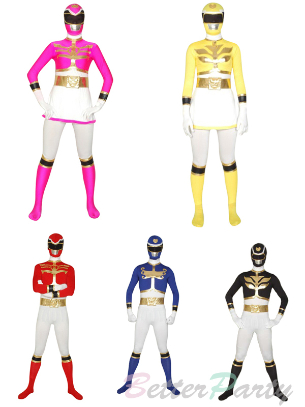 Super Sentai series Tensou Sentai Goseiger Costumes Spandex Lycra Full Body Red/Black/Blue/Pink/Yellow Ranger Suit