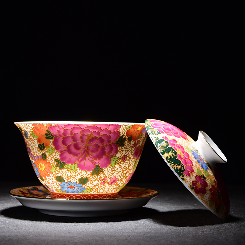 150ml Jingdezhen Porcelain Gaiwan Exquisite Enamel Color Tea Bowl With Saucer Lid Kit Master Tea Tureen Teaware Drinkware Decor