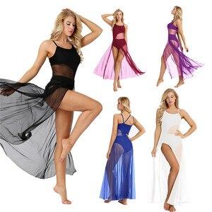 Image 5 - Womens Spaghetti Strap Sleeveless Asymmetrical Mesh Maxi Dance Dress with Built In Leotard Lyrical Performance Dance Class Dress