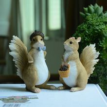 Creative Cute Animal ornaments resin squirrel Decoration miniature Figurine Craft garden Mini Furniture home decor accessories