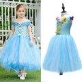 Muchachas de Los Niños de azul y Blanco Cenicienta Tutu Vestido de Niña de las Flores Vestido Largo con Estilo Mariposa Princesa Del Verano Vestidos de Fiesta