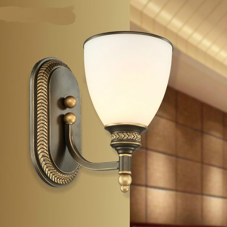 New Lang bedside lamp lighting balcony corridor lamp resin wall lamp room American Retro zzp modern lamp trophy wall lamp wall lamp bed lighting bedside wall lamp