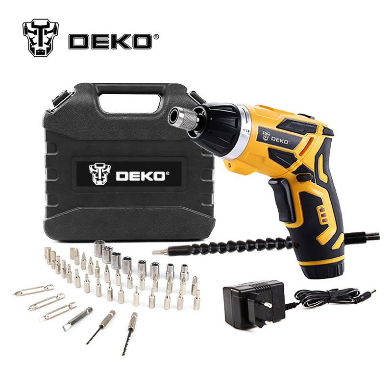 DEKO GCD3.6DKB 4V Cordless Electric Screwdriver Household Rechargeable Screwdriver with Twistable Handle & 45 Piece Accessories dkb household william levene h572720