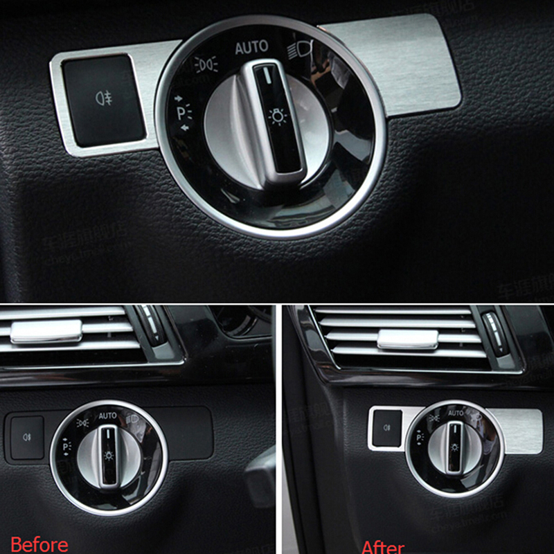 Chrome front head light switch cover trim sticker for for Mercedes benz auto accessories