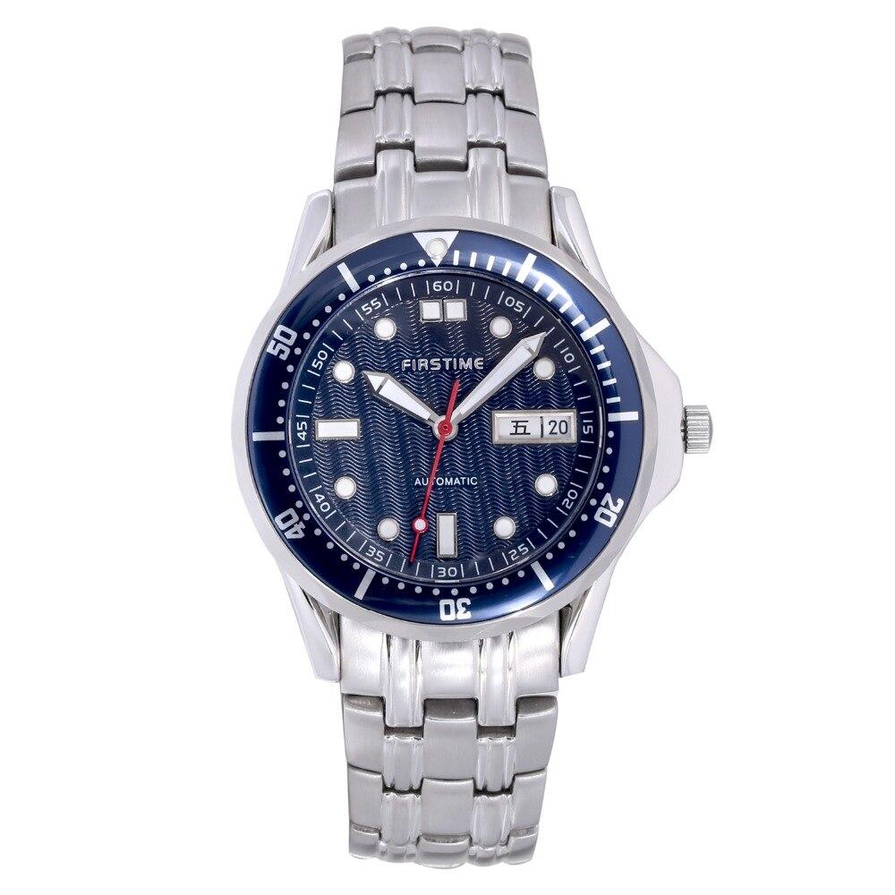 2e0ea6f6ca6 Ponteiros Luminosos do relógio de Aço Inoxidável dos homens Relógio  Mecânico Automático Cinta Caso Revestimento de