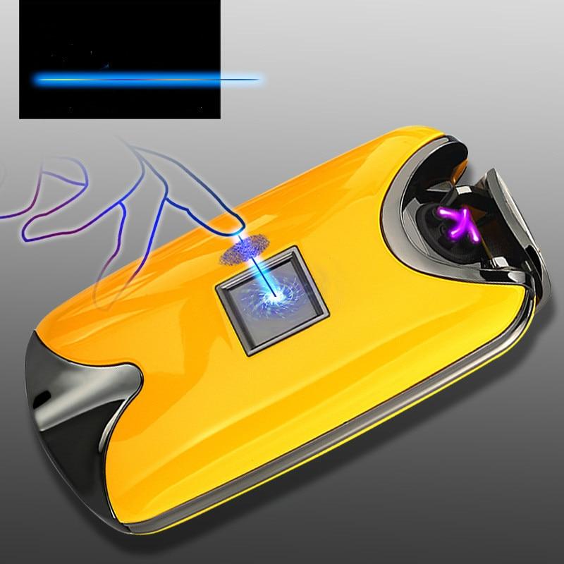 Intelligent USB Arc Lighter Dual Fire Arc Lighter Fingerprint Induction Charging Metal WindProof No Gas Smoker Cigarettes Gift