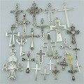 Free Shipping 25PCS MIX Alloy Vintage Antique Silver Tone Faith Religious Cross Pendant Charm