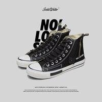 SODA WATER MEN 2019 New Hip Hop Casual Black Canvas Shoes Male Fashion Unisex Side Zipper High Top Sneakers Streetwear 558SH2019