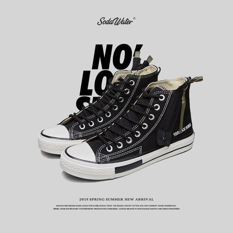 SODA WATER hommes 2019 nouveau Hip Hop décontracté noir toile chaussures mâle mode unisexe côté Zipper haut Top Sneakers Streetwear 558SH2019