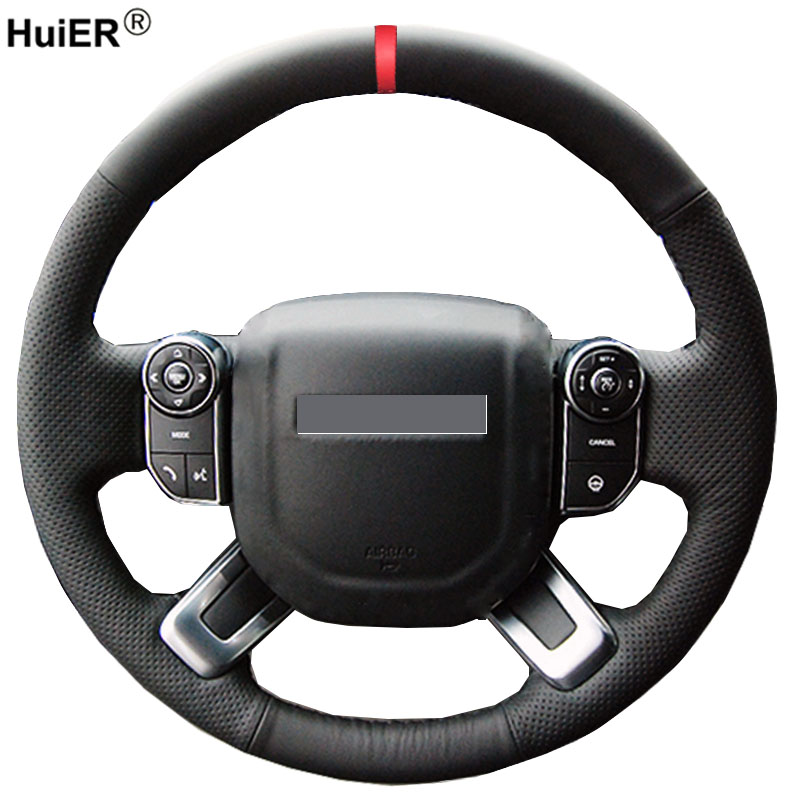 HuiER Hand Sewing Car Steering Wheel Cover Red Marker For Land Rover Discovery <font><b>5</b></font> <font><b>2017</b></font> 2018 Range Rover 2013-2015 2016 <font><b>2017</b></font> 2018 image