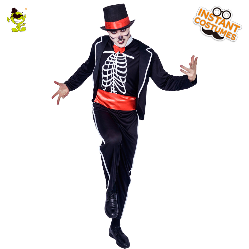 Adult Men's Skeleton Magician Costume Purim Party Cosplay Skeleton Costumes High Quality Cosplay  Skull Clothing