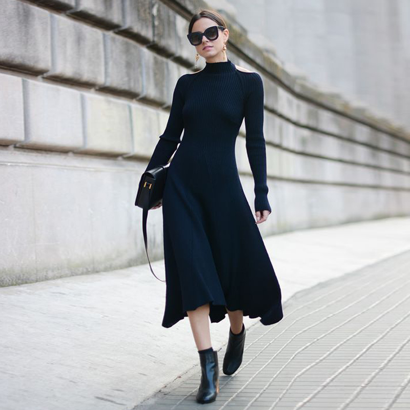 New Autumn Winter Women Sweater Dresses Elegant Wool Warm Knitted Dressed Backless Bow Extra Long Female Black Dress AD003 autumn winter female long wool knitted dresses turtleneck slim lady accept waist package hip pullovers sweater dress for women