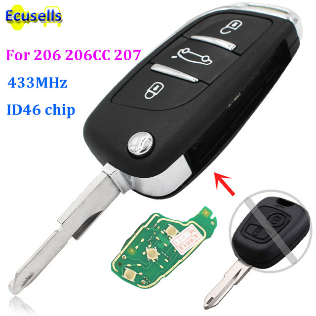 new style folding key for peugeot 206 207 206cc 3 buttons fob remote rh aliexpress com