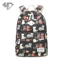 Women Backpacks Cute Cat School Bags For Teenage Girls Fashion Printing Canvas Backpacks Ladies Shoulder Bags Famous Brand E