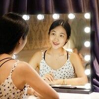 Desktop single mirror led makeup mirror with light HD vanity light mirror home wedding explosion models mirror bathroom
