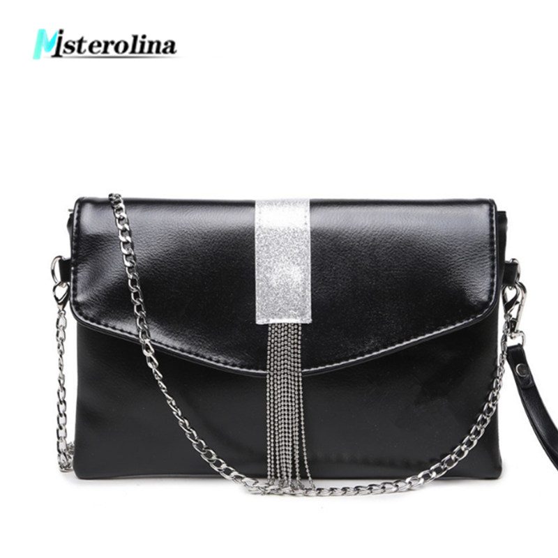 2018 PU Leather tassel chains design shoulder women bags fashion casual shopping handbags messenger bags small flap day clutch