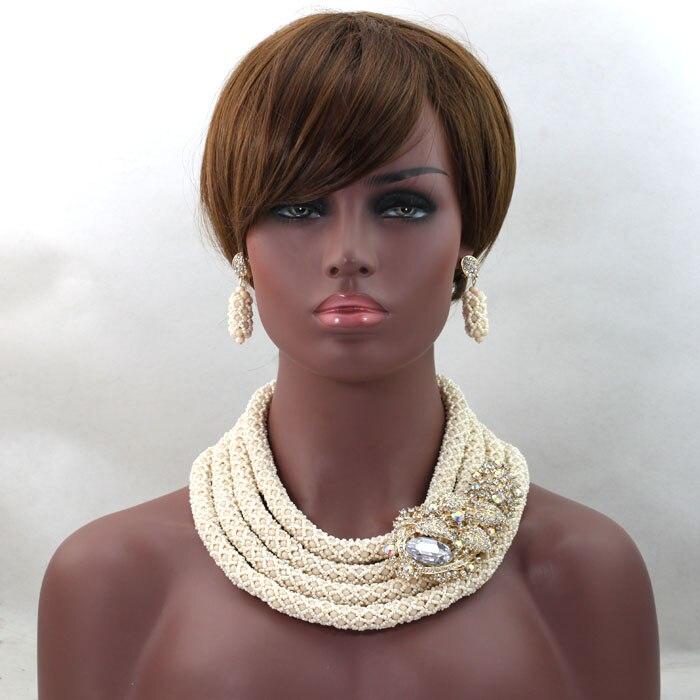 Beige Nigerian Wedding Beads Charming African Jewelry Set Free Shipping hx144Beige Nigerian Wedding Beads Charming African Jewelry Set Free Shipping hx144
