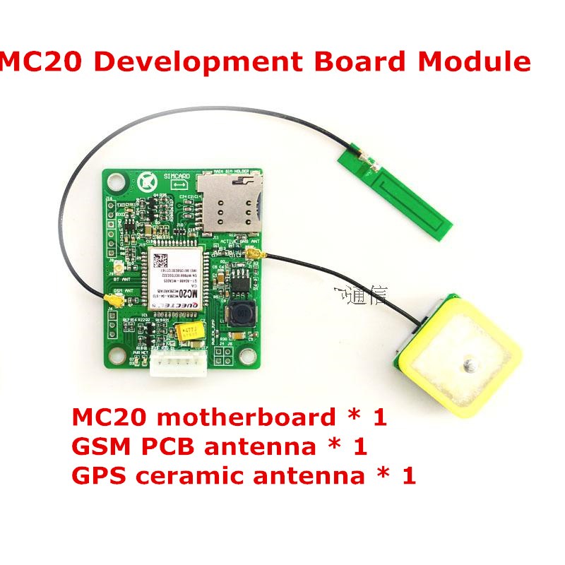 MC20 development board module+GSM PCB antenna+ GPS ceramic antenna Text data GPSMC20GSMPGPRSBD Compass development board fast free ship 2pcs lot 3g module sim5320e module development board gsm gprs gps message data 3g network speed sim board