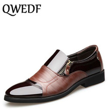 QWEDF 2019 new fashion mens dress leather shoes metal zipper patchwork Casual Comfortable Wedding Shoes Business BB-010