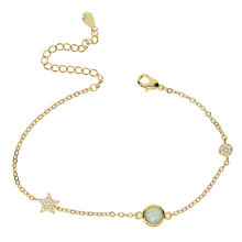 fashion Brand Design Anniversary White Fire Opal Silver Star connector Charm Bracelets for Women Precious Fashion Jewelry(China)