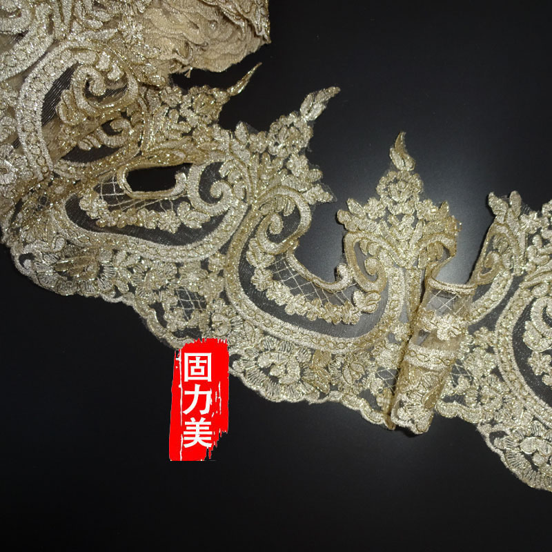 Delicate 9Yards wide 23cm Deep Champagne gold Codring Fabric Flower Venise Venice wedding dress headwear Lace