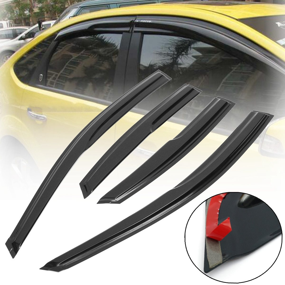 4pcs set car door window wind visor moulding awnings shield rain sun wind guard vent shade for ford focus 2005 2011 car styling