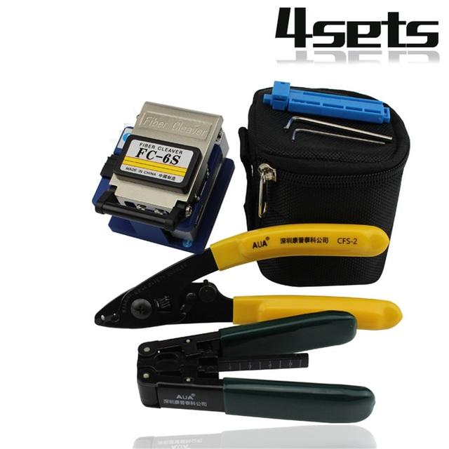 Herramientas FTTH Fibra Óptica de Herramientas de Terminación De Fibra con Fibra Cleaver. FTTH Kits + FC-6S + cubierto pelacables, 7 unids/set