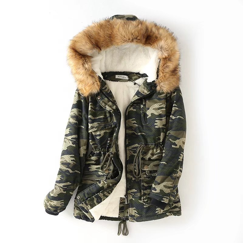 Abrigos Mujer Invierno 2019 Winter New Women Lamb Fur Cotton Fur Collar Camouflage Long Coat Women Casaco Feminino(China)