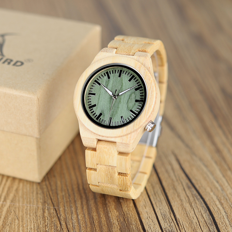 Bamboo-Watch Bobo Bird Green Quartz Feminino Cat-Eye-Design Female Women Unique for Relogio