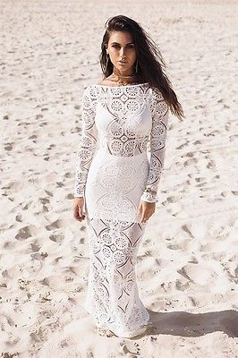 Sexy Ladies Long Dress Lace Sundress Evening Party Dresses Long Sleeve  White Summer Costume Lace-in Dresses from Women s Clothing   Accessories on  ... 82cb0b077698
