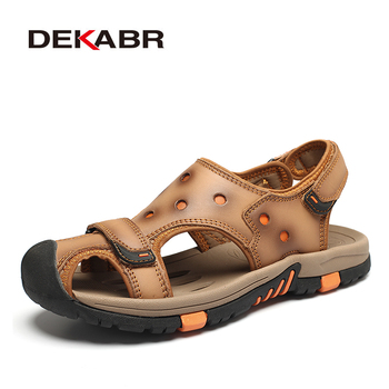 DEKABR New Fashion Summer Beach Breathable Men Sandals Genuine Leather Men's Sandal Brand Men Summer Shoes Breathable Slippers