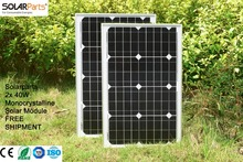Solarparts 2x 40W Monocrystalline Solar Module by Mono solar cell factory cheap selling 12V solar panel