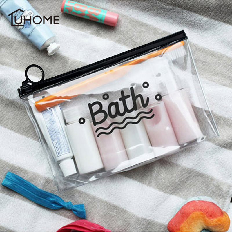 Clear Cosmetic Bags Frosted PVC Toiletry Bag Make Up Storage Organizer Beauty Case Lady Wash Bags Waterproof Phone Pocket