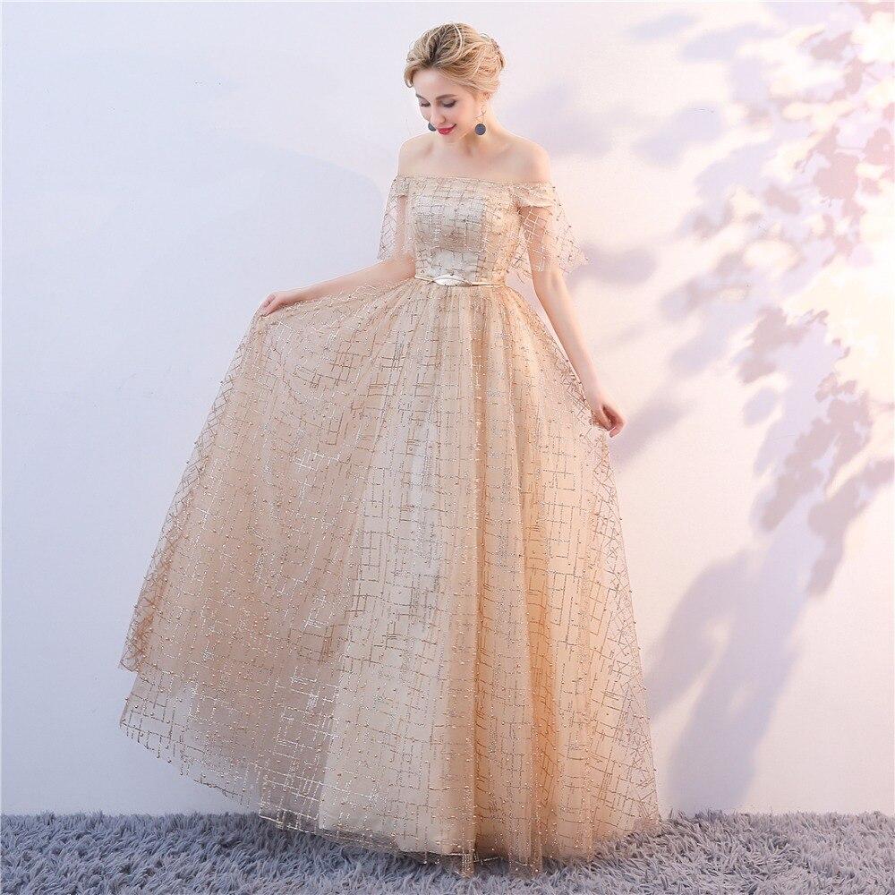 Golden Evening Dresses 2018 Nya Plus Size Tulle Ansökningar Långa - Särskilda tillfällen klänningar - Foto 4