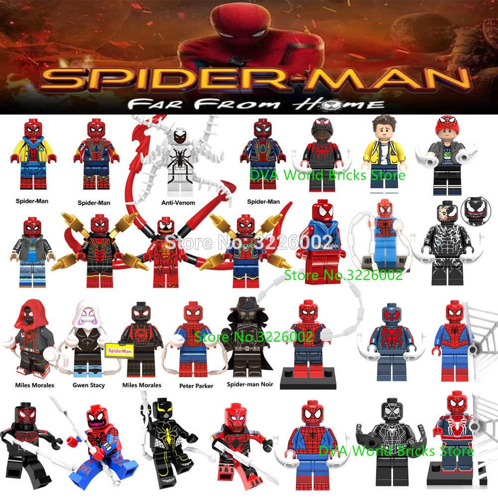 Para Longe de Casa Anti Veneno Spiderman Homem-Aranha Carnificina Aranha homem batman Avengers Building Blocks Brinquedos Figuras de Gwen