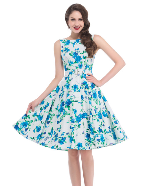 Meval New Woman Style 2016 Short Formal Retro Vintage 50s Dress Cherry Flowers Print Gown Casual