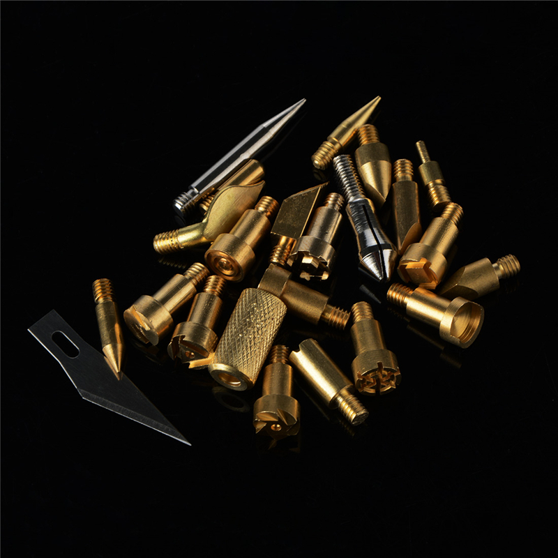 22Pcs Wood Burning Pen Tips Stencil Soldering Iron Pyrography Working Carving Welding Iron Heads