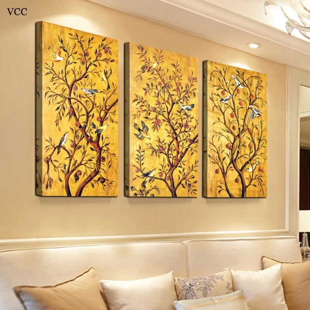 3 Pieces Set Golden Tree Picture Wall Art Canvas Painting,Wall ...