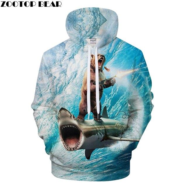 1793096206125 Shark 3D Bear Hoodie Men Hoody Funny Sweatshirt Groot Tracksuit Streatwear Coat  Pullover Jacket Autumn Male DropShip ZOOTOPBEAR