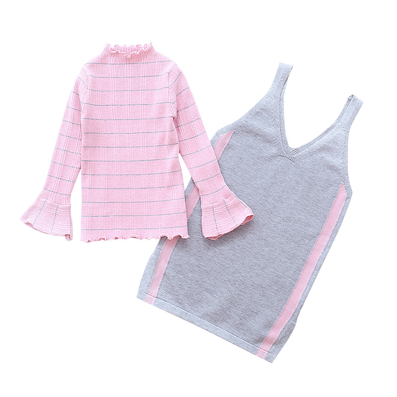 girls clothes sets 2018 autumn children clothing top striped long sleeve pullover hoodies+knitted suspender skirt 2 piece sets autumn winter girls children sets clothing long sleeve o neck pullover cartoon dog sweater short pant suit sets for cute girls