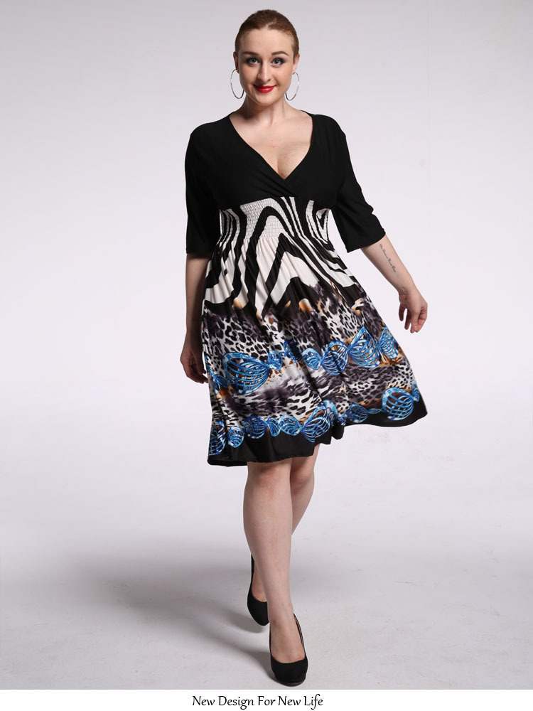 Summer Boho Bohemian Maxi Print Plus Size Beach Dress ...