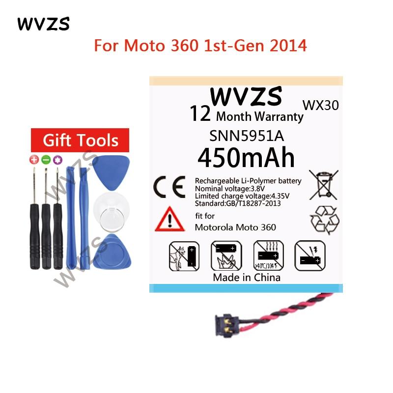 wvzs 450mAh Li-Polymer Battery WX30 SNN5951A  For Motorola Moto 360 1st-Gen 2014 Smart Watch Batterieswvzs 450mAh Li-Polymer Battery WX30 SNN5951A  For Motorola Moto 360 1st-Gen 2014 Smart Watch Batteries
