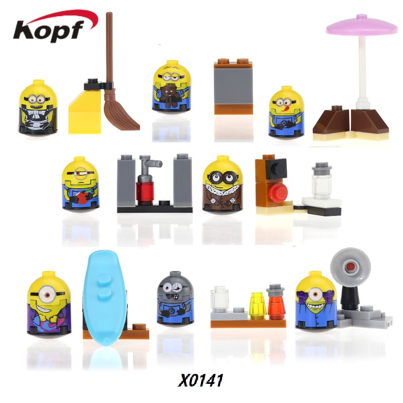 50Pcs X0141 Super Heroes New Minions Despicable Me Cartoon Anime Movie Figures Building Blocks Education For Children Gift Toys