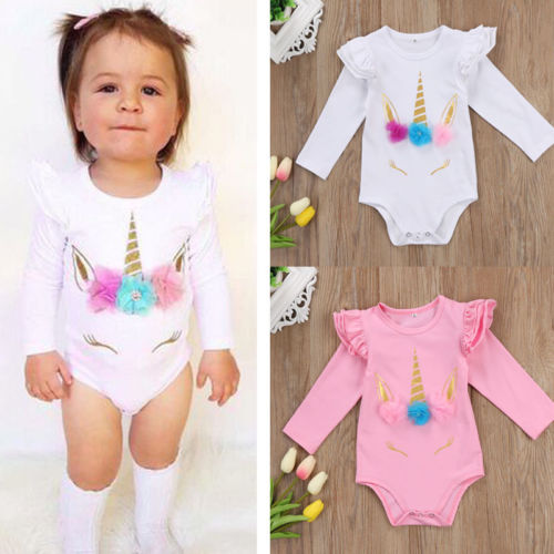 Emmababy 2019 Newborn Infant Baby Girl Unicorn Floral Bodysuit Soft Cotton Long Sleeve Summer Pullovers Clothes Outfits