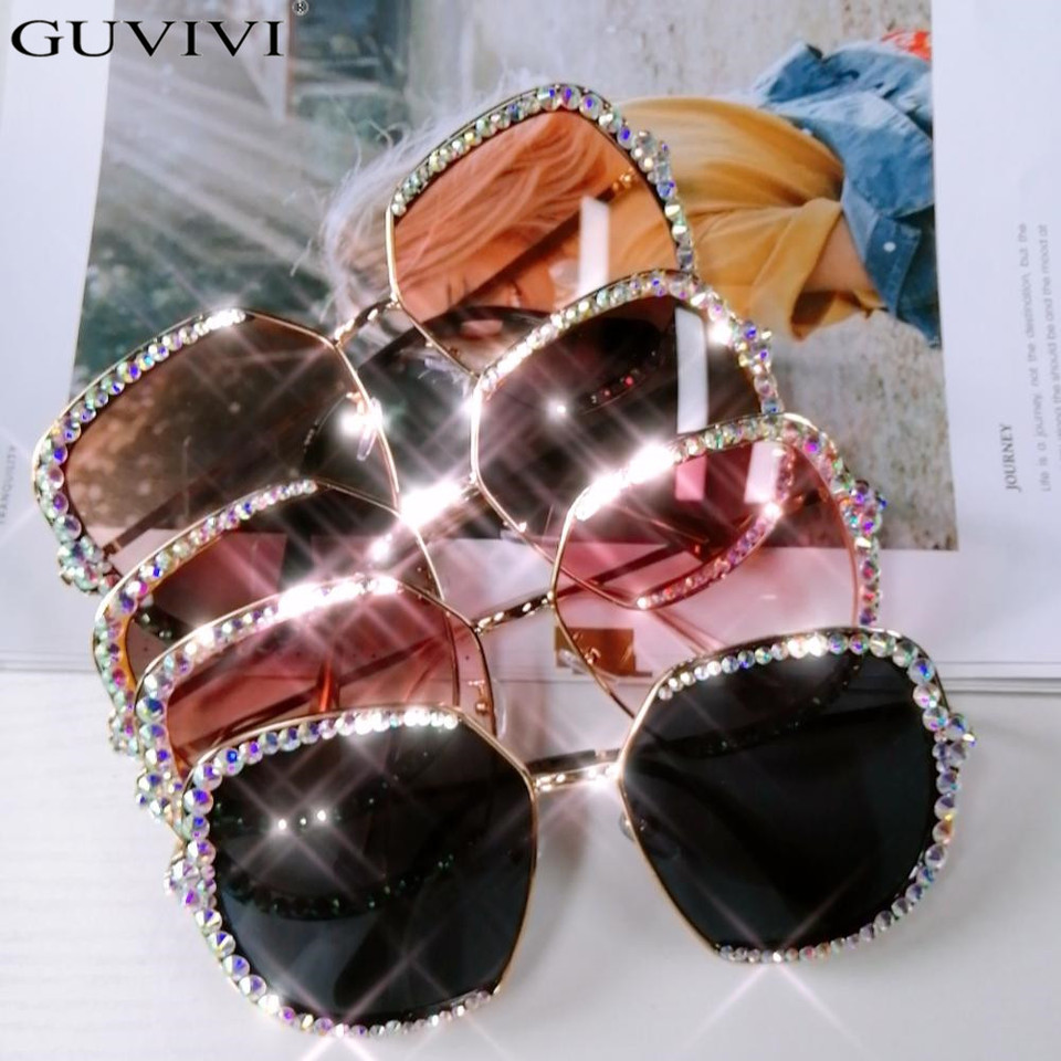 Diamond Rhinestone Sunglasses Women Men Luxury Crystal Sun Glasses Clear Lens Oversized Frame Square Sun Glasses Vintage Shades Aliexpress