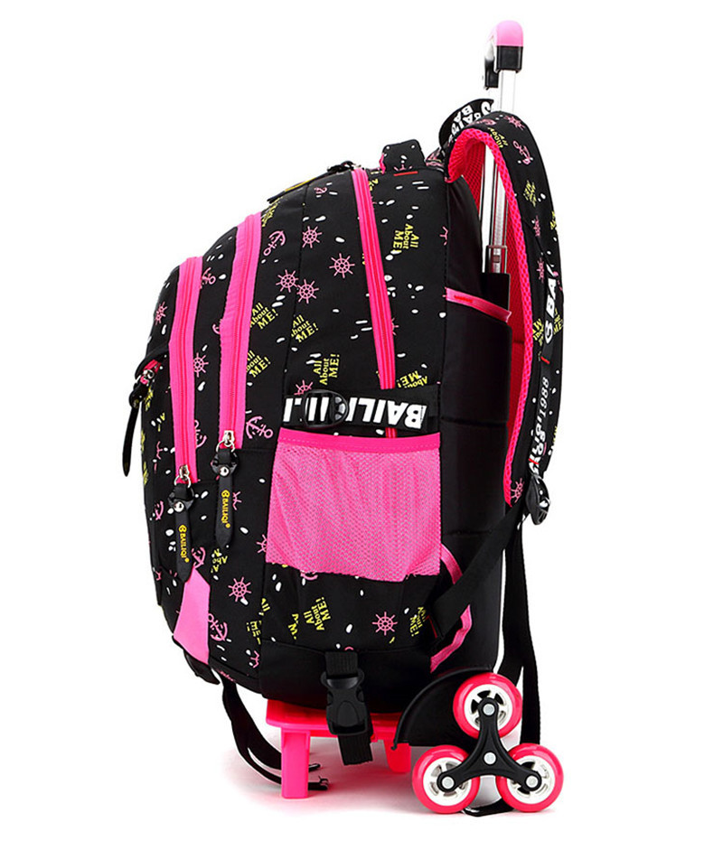 Children School Bags Triple Wheels Trolley Backpack Wheeled school bag For Grils Kids travel luggage Rolling Schoolbag Book Bags