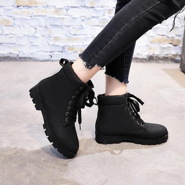 Kadın Bayanlar Moda Düz Ayak Bileği dantel-up Martin kısa çizmeler Bootie Ayakkabı kışlık botlar kadın snowboots kadınlar martin # g10