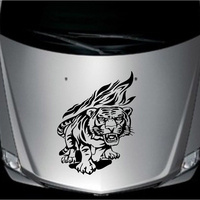 Car Racing Tiger Flames Hood Decals Vinyl Auto Front Sticker Handsome And Cool Front Stickers