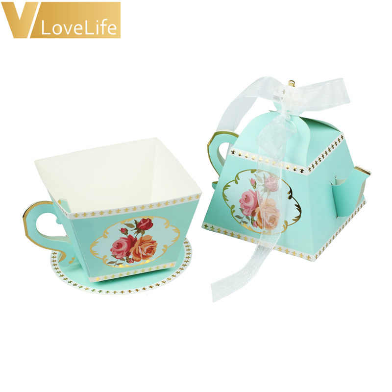 50Pcs Gift Box Tea Party Decorations Tea Cup Teapot Wedding Favor Candy Box Baby Shower Decoration Birthday Party Supplies